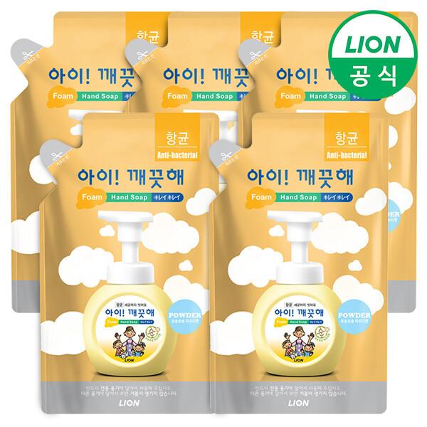 (현대Hmall) LION 아이깨끗해 거품형 대용량 450ml 리필 5개 (레몬/청포도/순) /손세정제/핸드워시 상품이미지