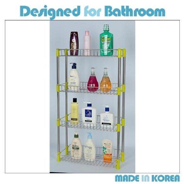 욕실 스텐사각선반 4단 4단선반 욕실정리 수납 선반 상품이미지
