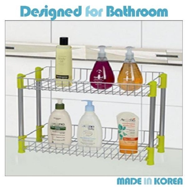 욕실 스텐사각선반 2단 2단선반 욕실정리 수납 선반 상품이미지