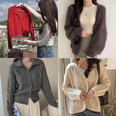 Winter new arrivals wool cardigan knitwear loose boxy cable knit sweater buttoned