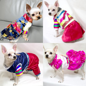 Dog`s Hanbok collection / dress / pants / short sleeve / layered / embroidered / glossy /
