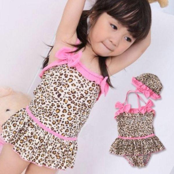 호피무늬 핑크 리본 수영복 모자 세트(2-6세) 203072 상품이미지
