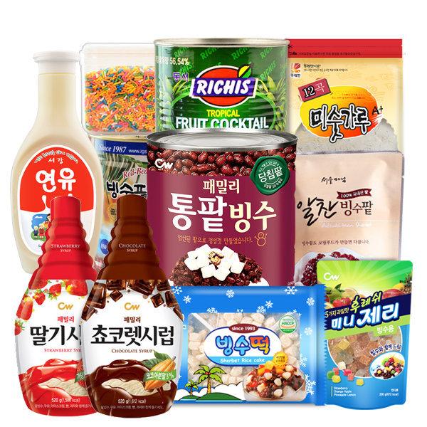 팥빙수재료30종/빙수팥/빙수떡/빙수제리/연유/시럽 상품이미지