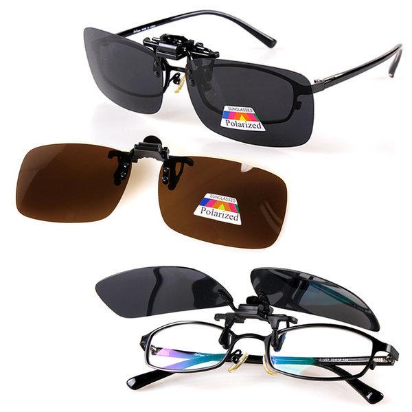 케이스+편광클립선글라스) 미러 렌즈 클립온 썬글라스 상품이미지