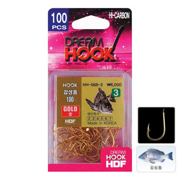 해동 감성돔 금색바늘 100개입 HH-568-한보 골드 지누 상품이미지