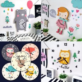 Character wall clock+Deco set/round/wall clock 14800~ (noiseless)