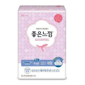 (1+1)(생리대)유한킴벌리_좋은느낌에어핏쿠션맥시슬림날개_대형32매