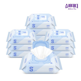 Super Daddy baby wipes S cap lid type 80 ea 10 packs Rohee`s wet wipes