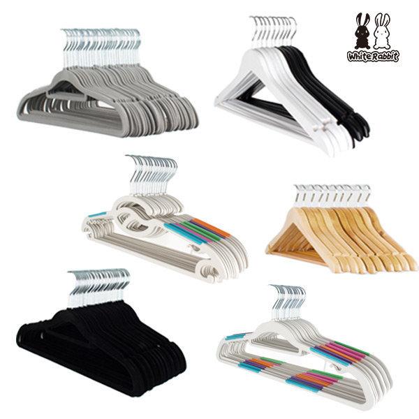 화이트래빗 논슬립옷걸이 30p - 디자인/벨벳/PVC/원목 상품이미지
