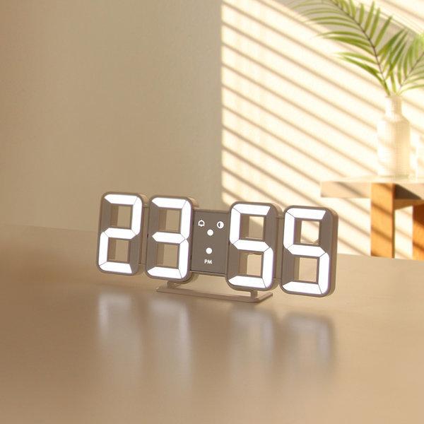 무아스 3D LED 벽 시계 탁상시계 무소음 알람시계 상품이미지