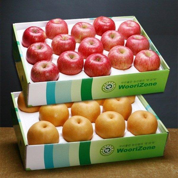 품질보증과일 사과+배 혼합과일 선물세트(12.5kg/사과 특대12과 배 특대9과내외) 상품이미지