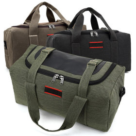 Travel duffel bag / zippered / safety strap / shoulder strap / bag feet / solid color / camouflage /