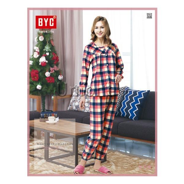BYC여성 잠옷(극세사) 러블리 체크 여상하셋트(자주색 상품이미지