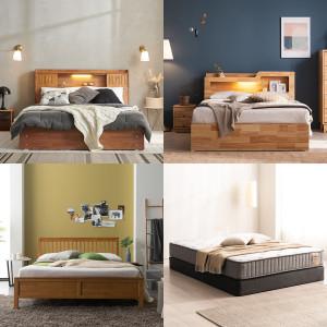(매트포함)피칸 프리미엄 평상형 침대 슈퍼싱글/퀸