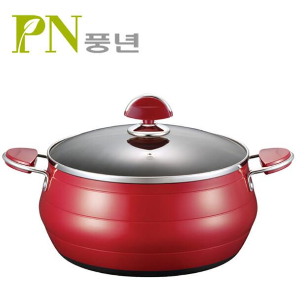 (현대Hmall)PN풍년 포시아레드 양수냄비 24cm 상품이미지