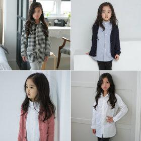 주니어의류/여아롱셔츠/흰남방/초등학생옷/반팔롱남방