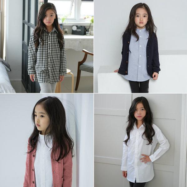 주니어의류/여아롱셔츠/흰남방/초등학생옷/반팔롱남방 상품이미지