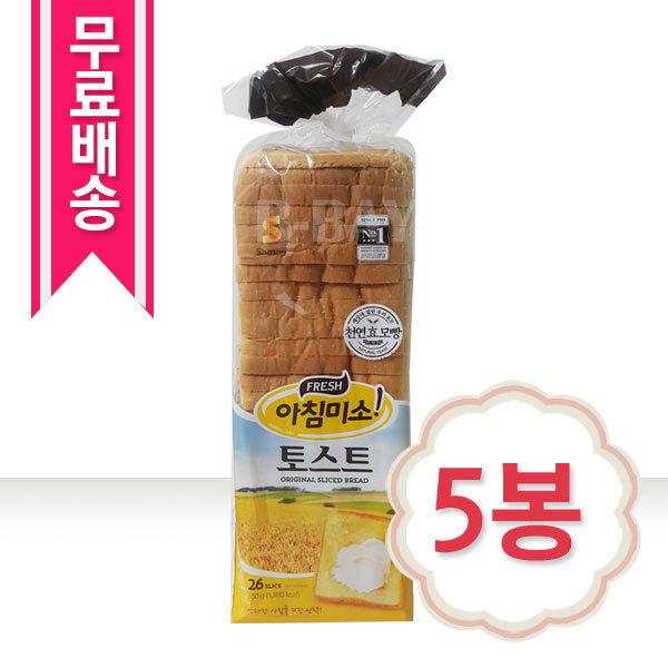 (무료배송) 삼립 아침미소 토스트 식빵 700g x (5봉) 상품이미지