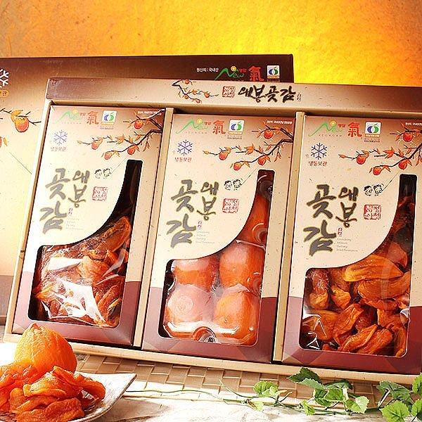 (과일愛)  과일愛 영암 대봉 곶감선물세트 혼합 2호 (반건시 8과  말랭이 500g x 2) - 보자기 포장 상품이미지