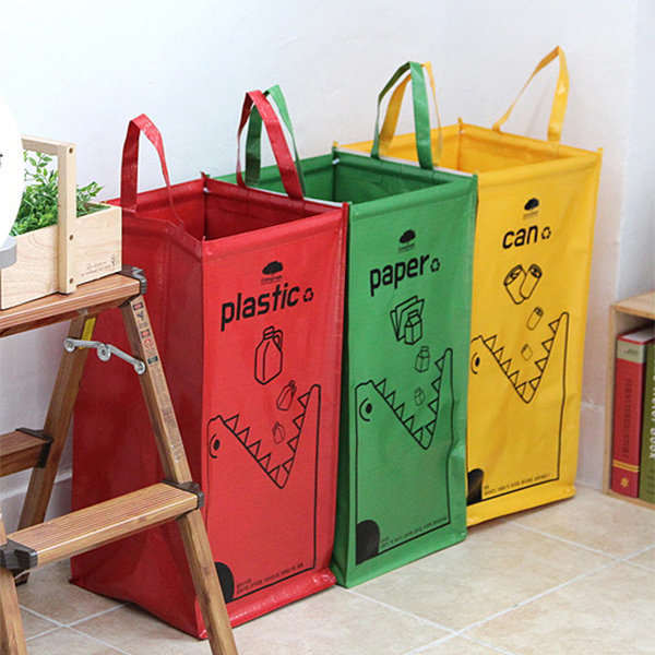 재활용 분리수거함 3P 휴지통 쓰레기통 청소 방수 54L 상품이미지