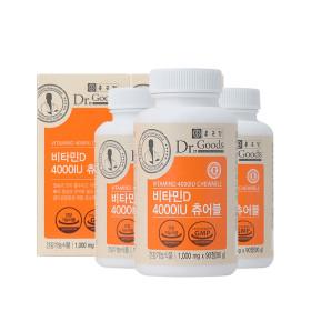 종근당 닥터굿스 츄어블 비타민D 3개월분 2병 4000IU