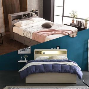 아이비 슈퍼싱글/퀸 수납 침대/LED/책장형