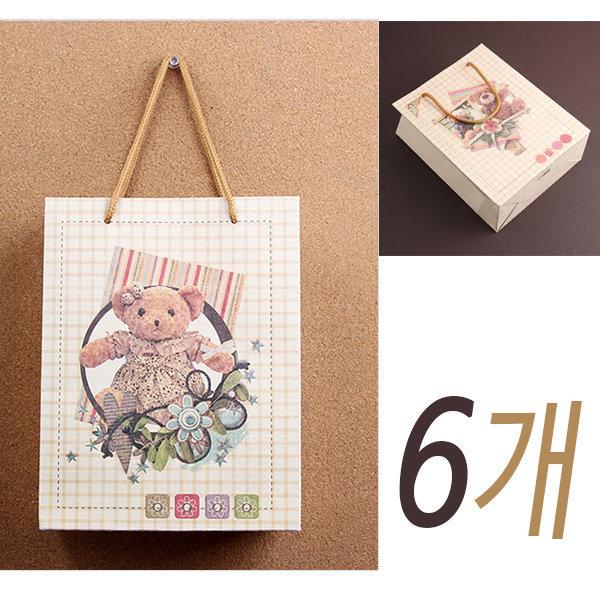 예쁜 곰인형 쇼핑백 X 6개/고급 종이가방 포장지 선물 상품이미지
