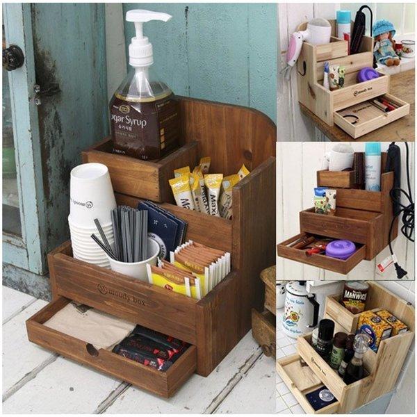 주방 원목 커피 박스 다용도 수납 정리함 주방수납장 상품이미지