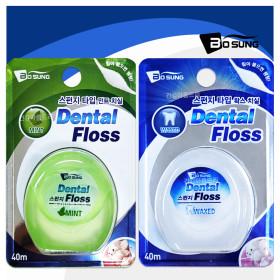 보성 스펀지 치실 40mX10개 민트/왁스 치간칫솔 치석