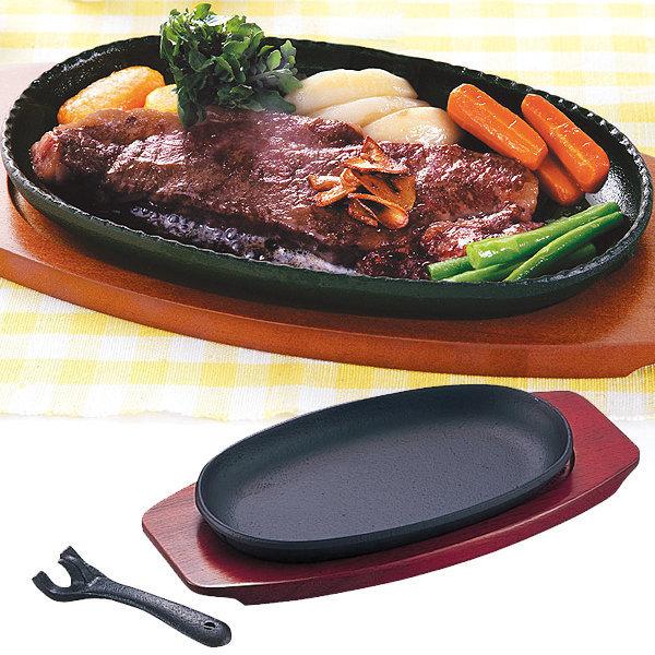 재팬 무쇠 함바그 플레이트+집게+받침/스테이크 접시 상품이미지