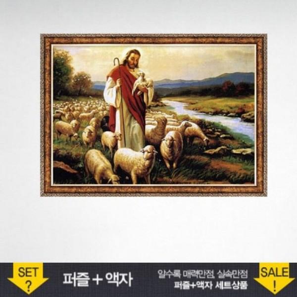 500조각 직소퍼즐 - 예수와 양 앤틱골드액자세트 (액 상품이미지