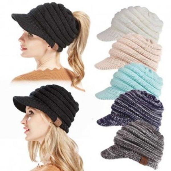 여성 포니테일니트챙 모자 가을 겨울 비니 벙거지모 상품이미지
