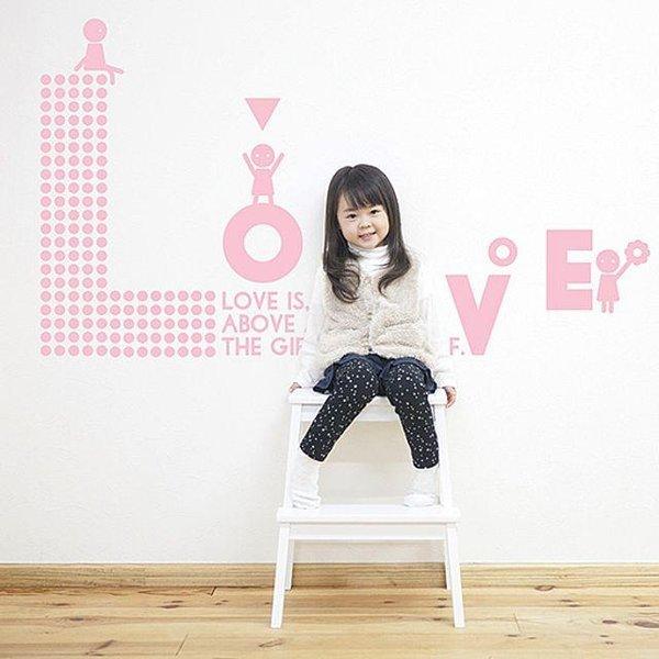 LOVE 캐릭 레터링스티커 시트지 벽지 포인트스티커 상품이미지