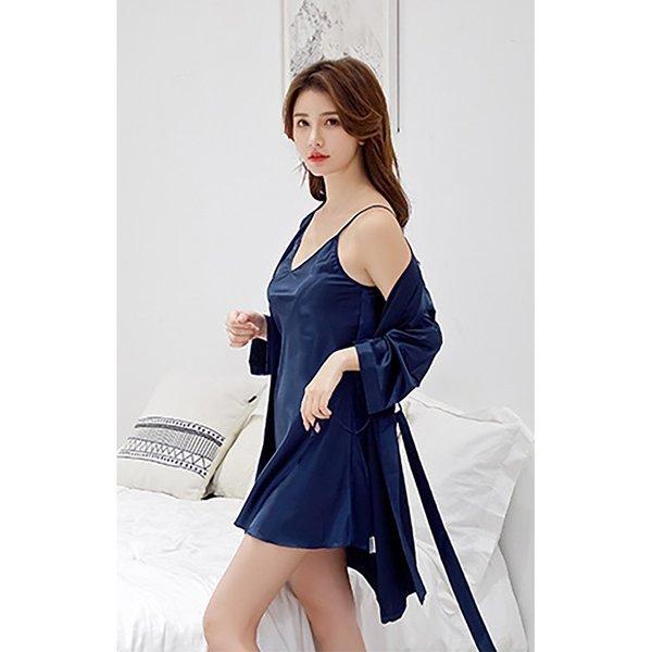 실키나잇 여성 슬립 잠옷세트 (네이비) (L) 상품이미지
