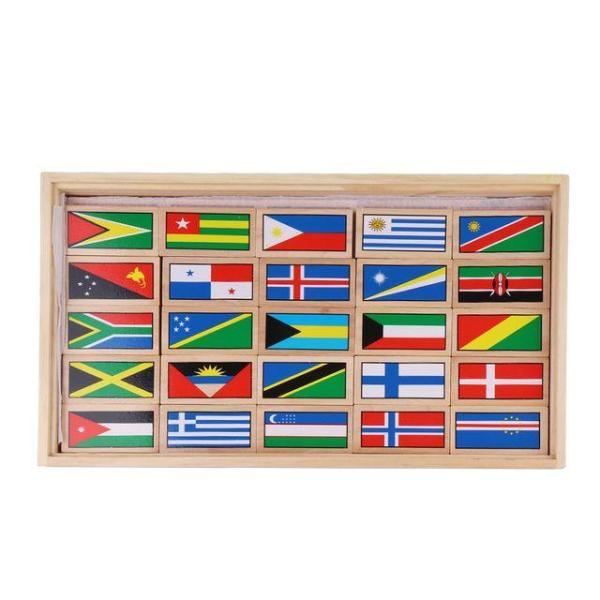 원목도미노블럭 세계국기 100개국 유아교구 유치원 상품이미지