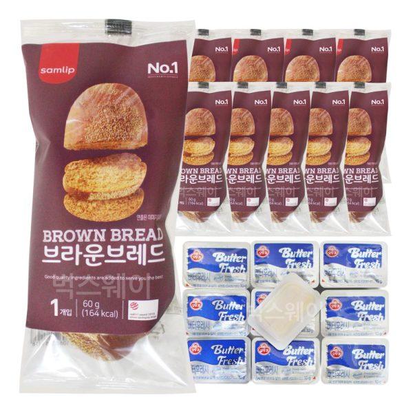 브라운브레드+미니 버터 10개 세트/냉동빵 부시맨빵 상품이미지
