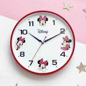 미키미니무소음벽시계 레드 디즈니벽시계