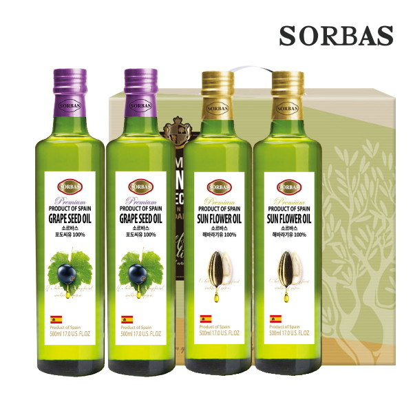 소르바스  포도씨유2병 해바라기유2병 세트 상품이미지