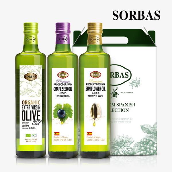 소르바스  유기농 올리브유1병 포도씨유1병 해바라기유1병 세트 상품이미지