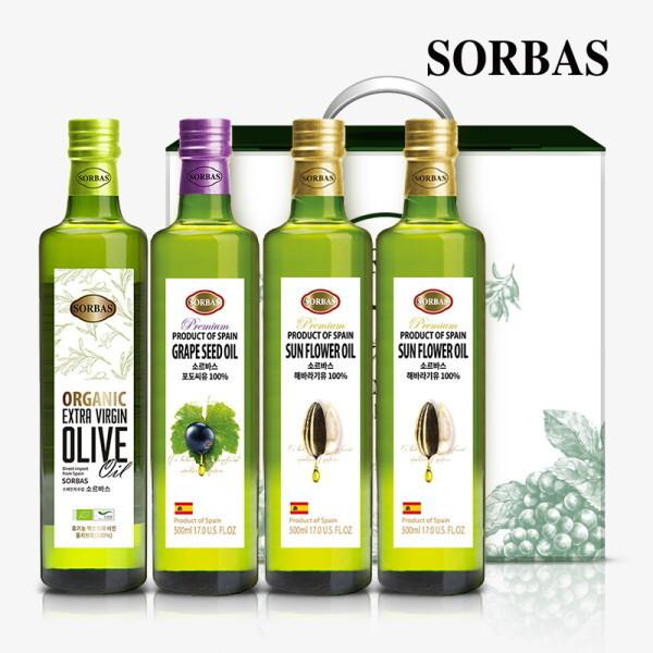 소르바스  유기농 올리브유1병 포도씨유1병 해바라기유2병 세트 상품이미지
