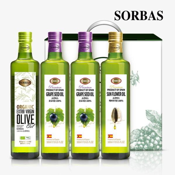 소르바스  유기농 올리브유1병 포도씨유2병 해바라기유1병 세트 상품이미지