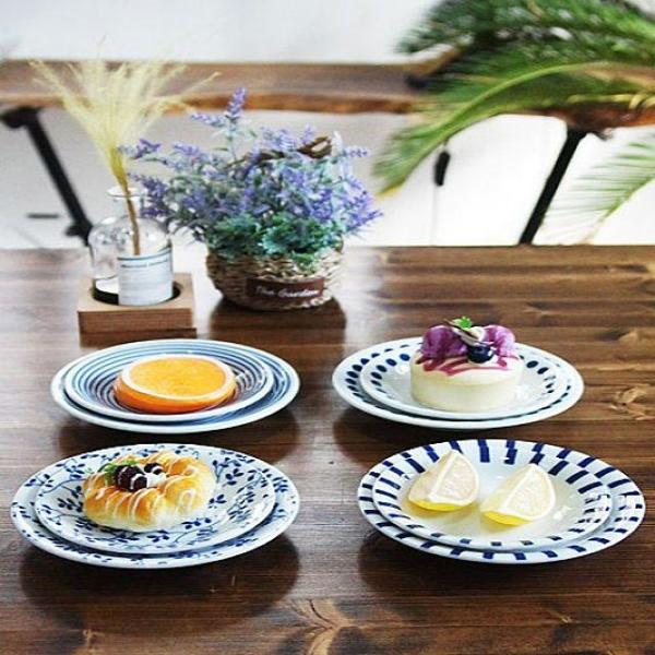 일본제작 도자기 블루에가와리 접시 4P세트 상품이미지
