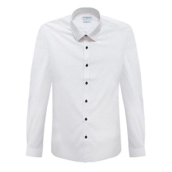 슬림 크림화이트 미니 윈도우페인 패턴 긴팔셔츠 상품이미지