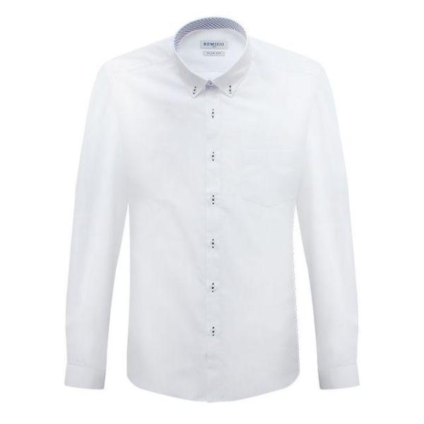 슬림 화이트 미니 윈도우 페인 패턴 배색 긴팔셔츠 상품이미지