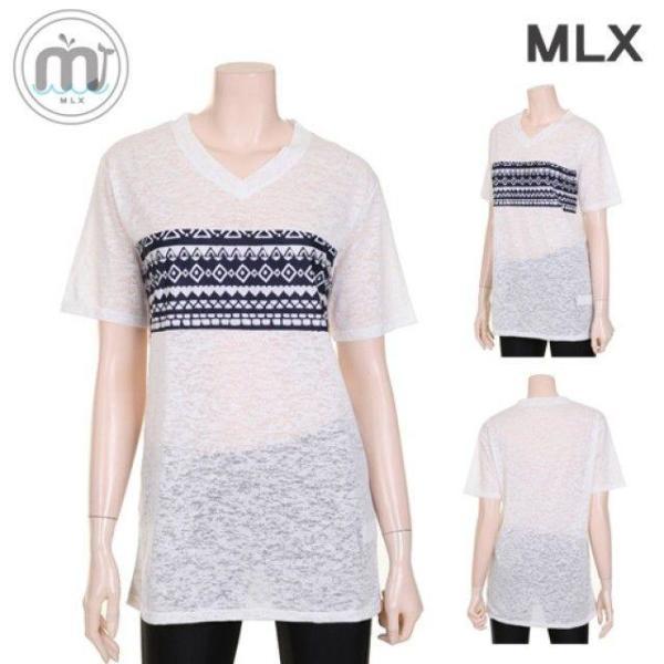 (MLX) 여자 비치웨어 프린트패턴 티셔츠 탑 수영복- 상품이미지