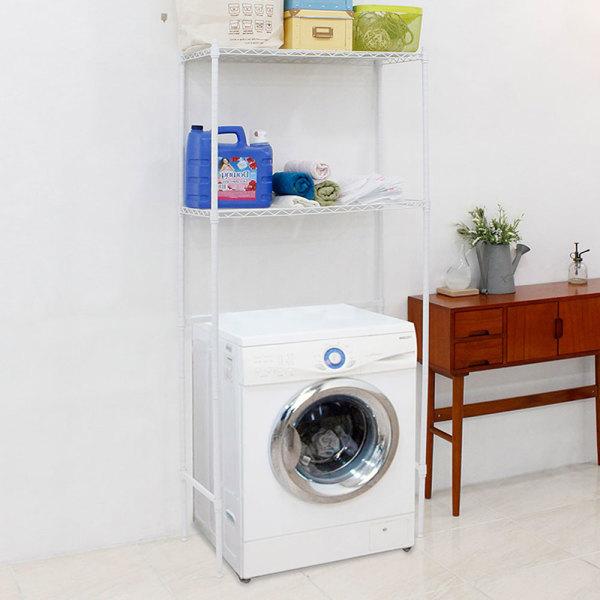 세탁기메탈선반2단수납장750화이트 세탁기선반 수납장 상품이미지