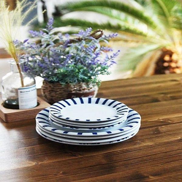 독특한 접시 일본 블루에가와리 평접시 4P세트 특대 상품이미지