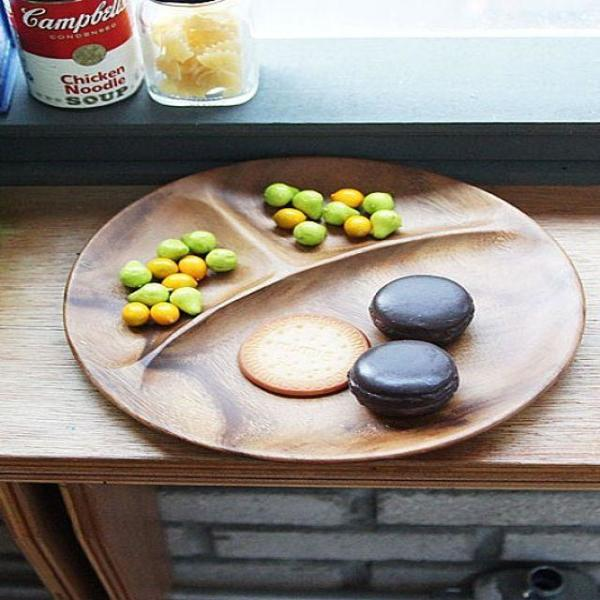 안주나 과자를 담기 편리한 우드 원형 나눔접시 상품이미지