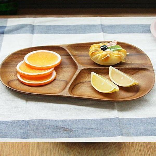 안주나 과자를 나눠서 담기 편한 우드 접시 3절 상품이미지