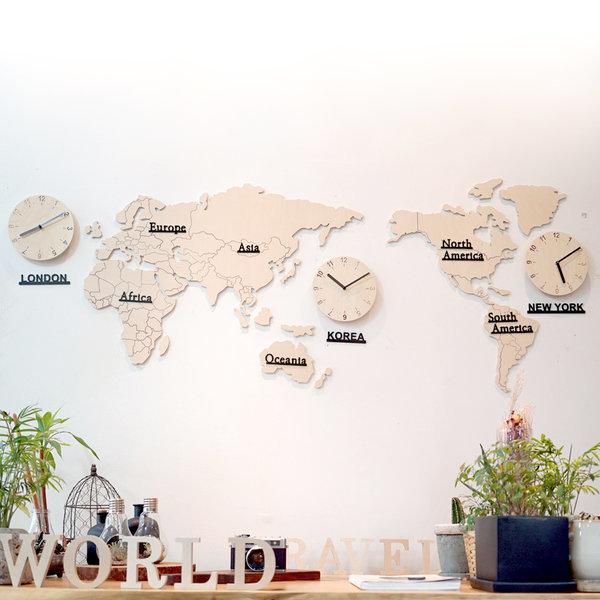 자작나무 세계지도 시계(소)/무소음/벽시계/원목시계 상품이미지